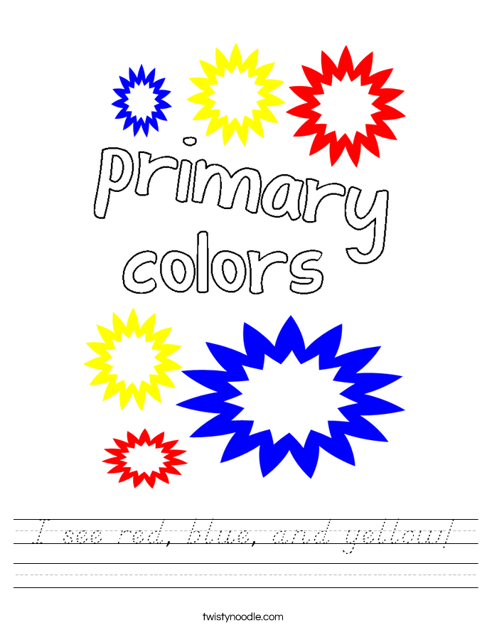 I see red, blue, and yellow! Worksheet