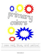 I see red, blue, and yellow Handwriting Sheet