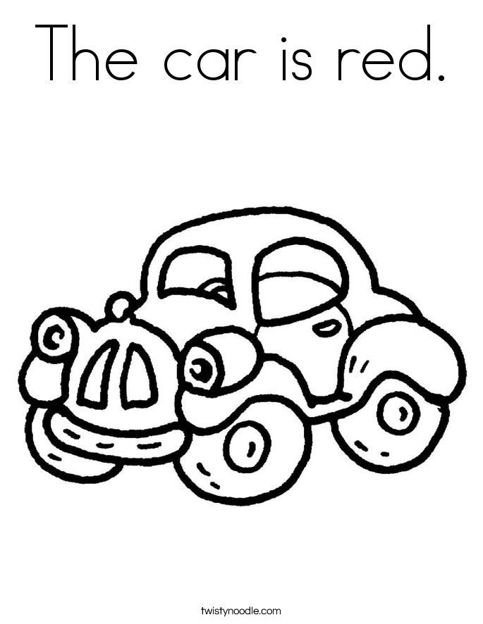 The car is red. Coloring Page