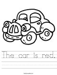 The car is red. Worksheet