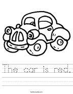 The car is red Handwriting Sheet