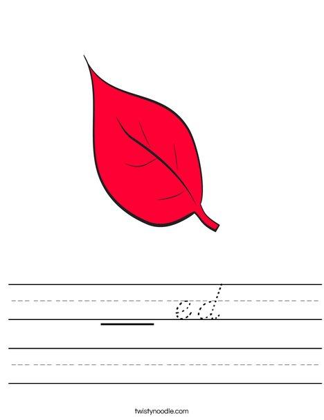 Red Fall Leaf Worksheet