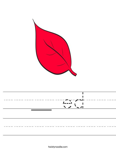 Red Fall Leaf Worksheet