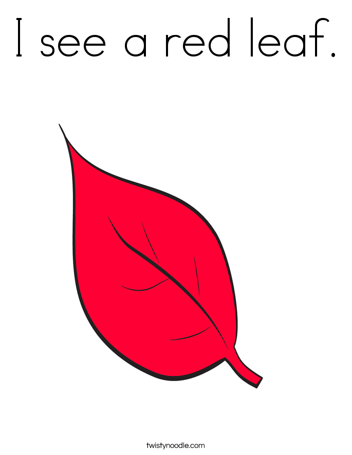 I see a red leaf. Coloring Page