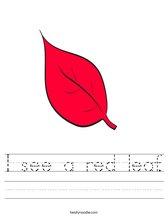 I see a red leaf. Worksheet