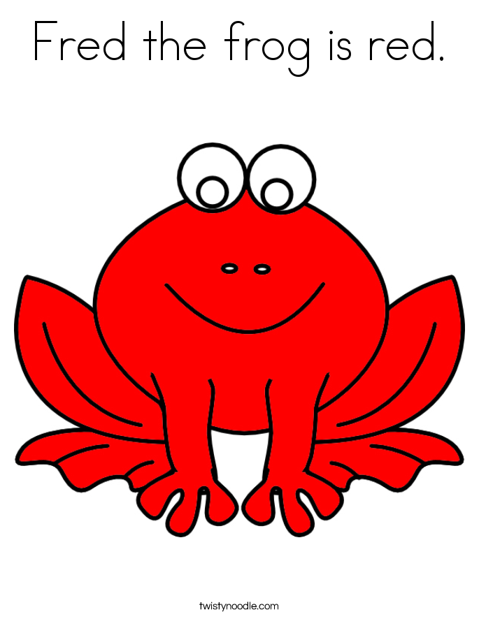 Fred the frog is red. Coloring Page