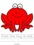 Fred the frog is red. Worksheet
