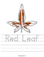 Red Leaf Handwriting Sheet