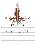 Red Leaf Handwriting Sheet