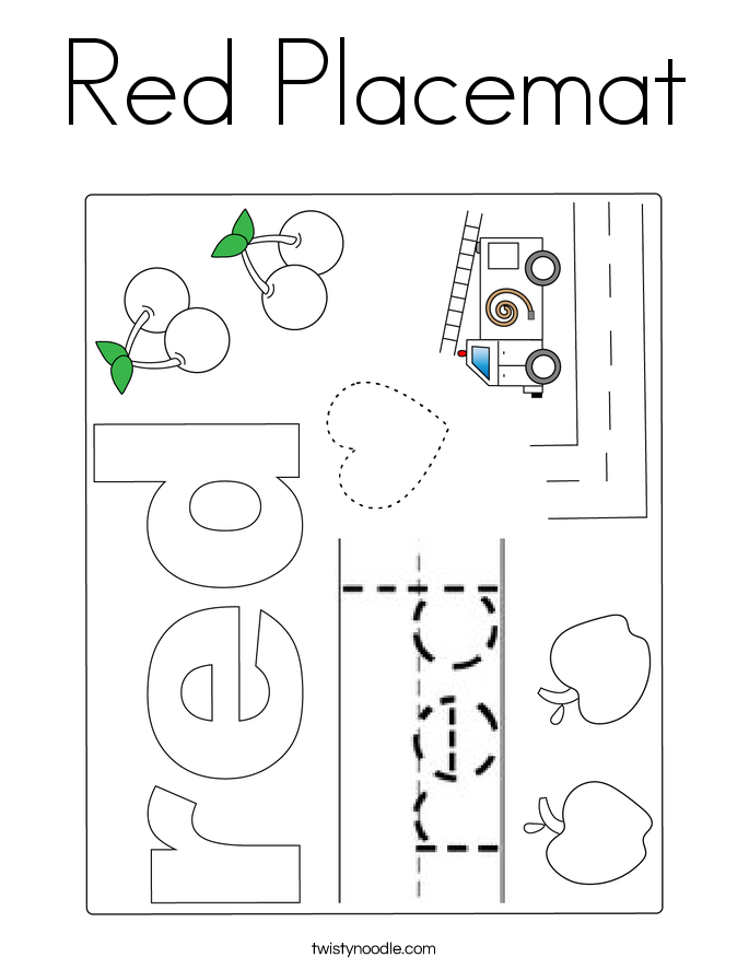 Red Placemat Coloring Page