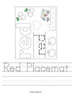 Red Placemat Handwriting Sheet