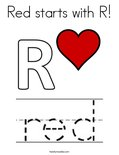 Red starts with R! Coloring Page