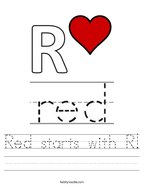Red starts with R Handwriting Sheet