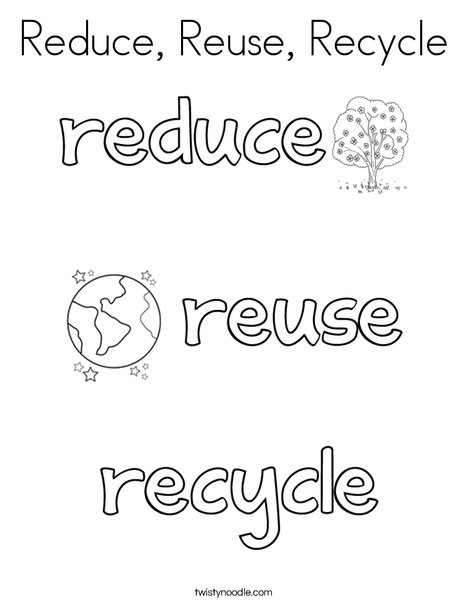 Reduce, Reuse, Recycle Coloring Page