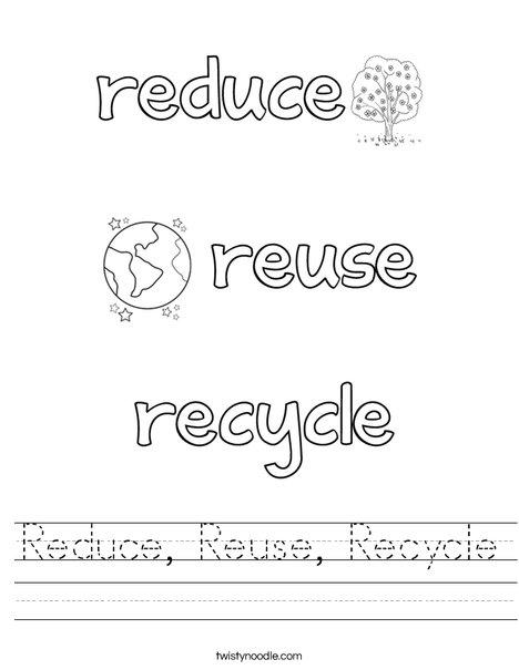 Reduce, Reuse, Recycle Worksheet