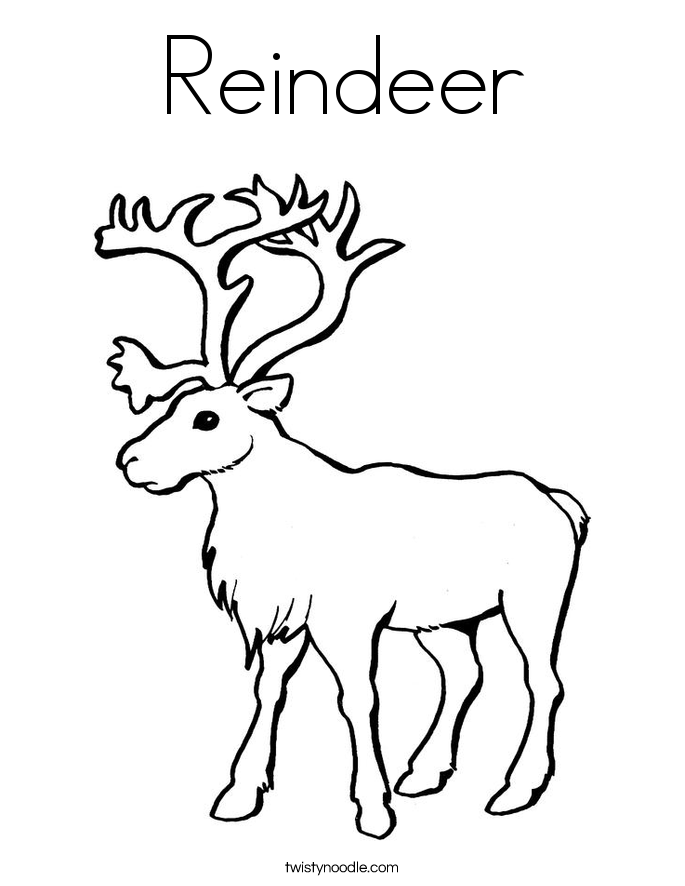 Reindeer Coloring Page Twisty Noodle
