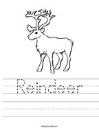 Reindeer Handwriting Sheet