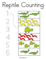 Reptile Counting Coloring Page