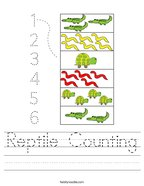 Reptile Counting Handwriting Sheet
