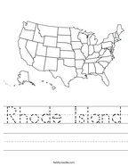 Rhode Island Handwriting Sheet