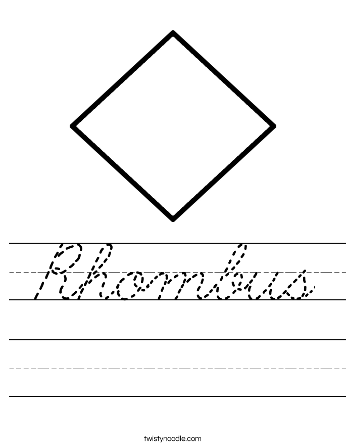 rhombus worksheet cursive twisty noodle. Black Bedroom Furniture Sets. Home Design Ideas