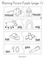 Rhyming Picture Puzzle (page 1) Coloring Page