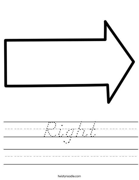 Right Arrow Worksheet