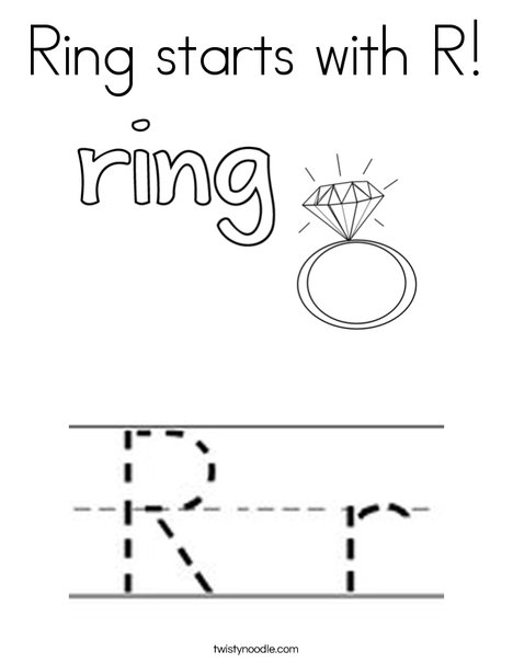Ring Starts With R Coloring Page Twisty Noodle