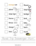 Road Trip Scavenger Hunt Handwriting Sheet