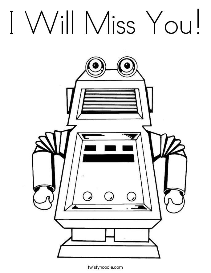 I Will Miss You! Coloring Page