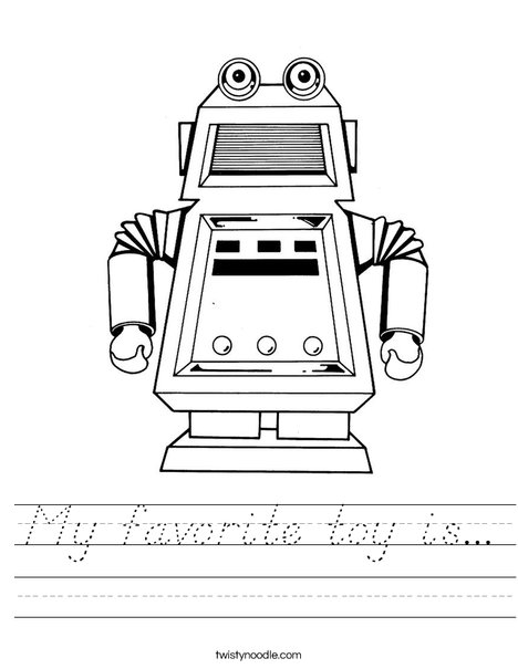Robot with Square Head Worksheet