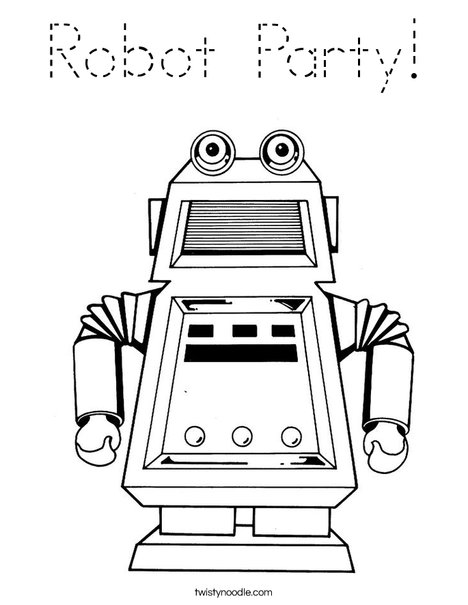 Robot with Square Head Coloring Page