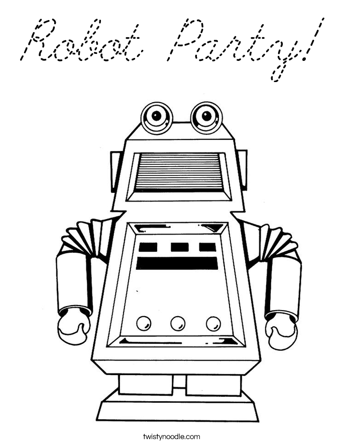 Robot party coloring page cursive twisty noodle for Going on a bear hunt coloring pages