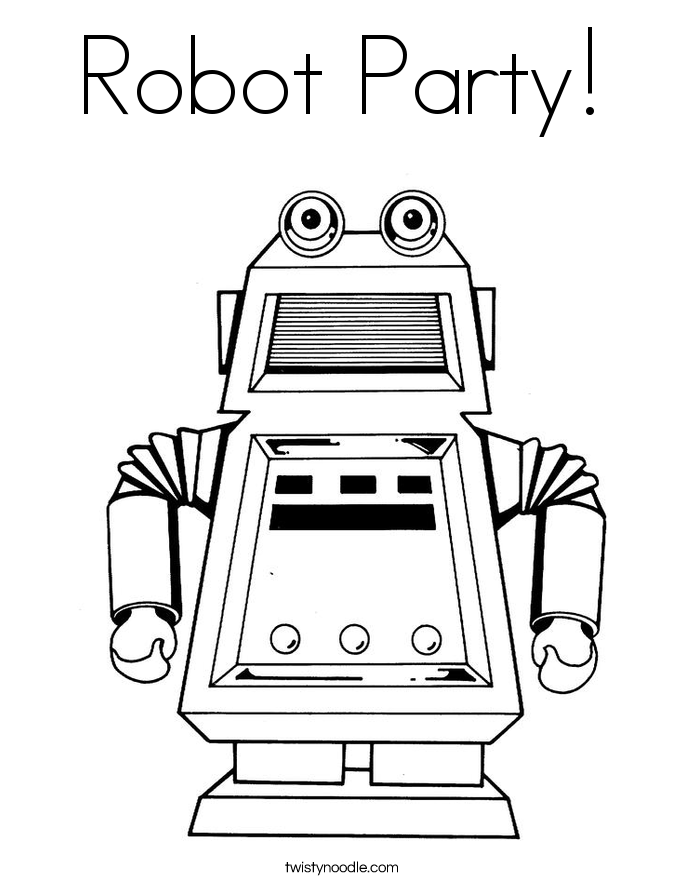 r is for robot coloring page - photo #20