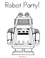 Robot Party Coloring Page