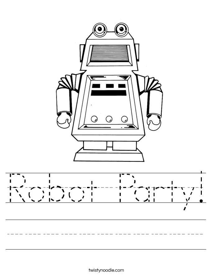 robot party worksheet twisty noodle. Black Bedroom Furniture Sets. Home Design Ideas