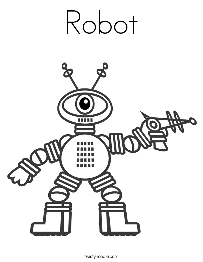 Robot Coloring Page Twisty Noodle