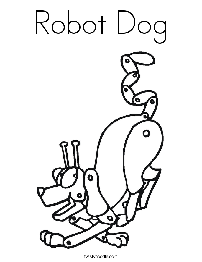 Robot Dog Coloring Page Twisty Noodle