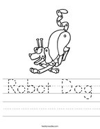 Robot Dog Handwriting Sheet