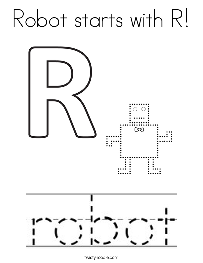 Robot starts with R! Coloring Page