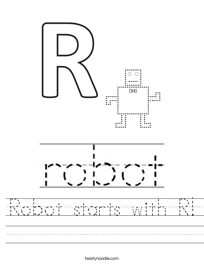 Robot starts with R! Worksheet