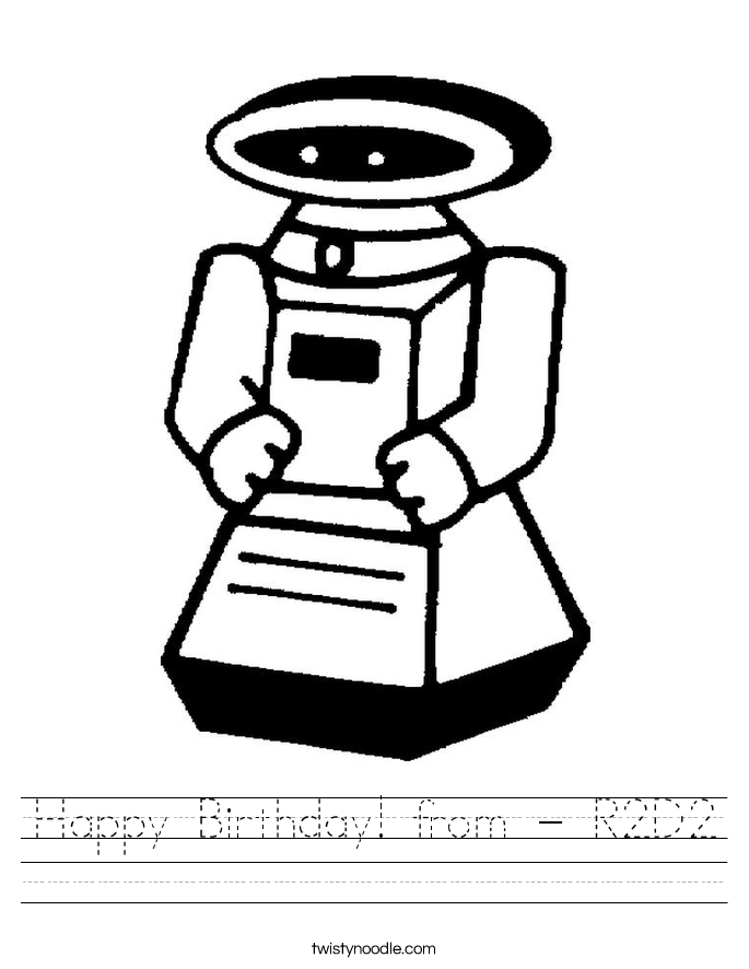 Happy Birthday! from - R2D2 Worksheet