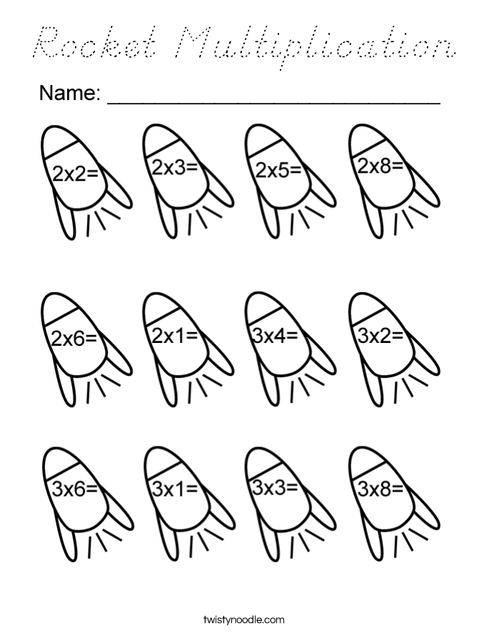Rocket Multiplication Coloring Page