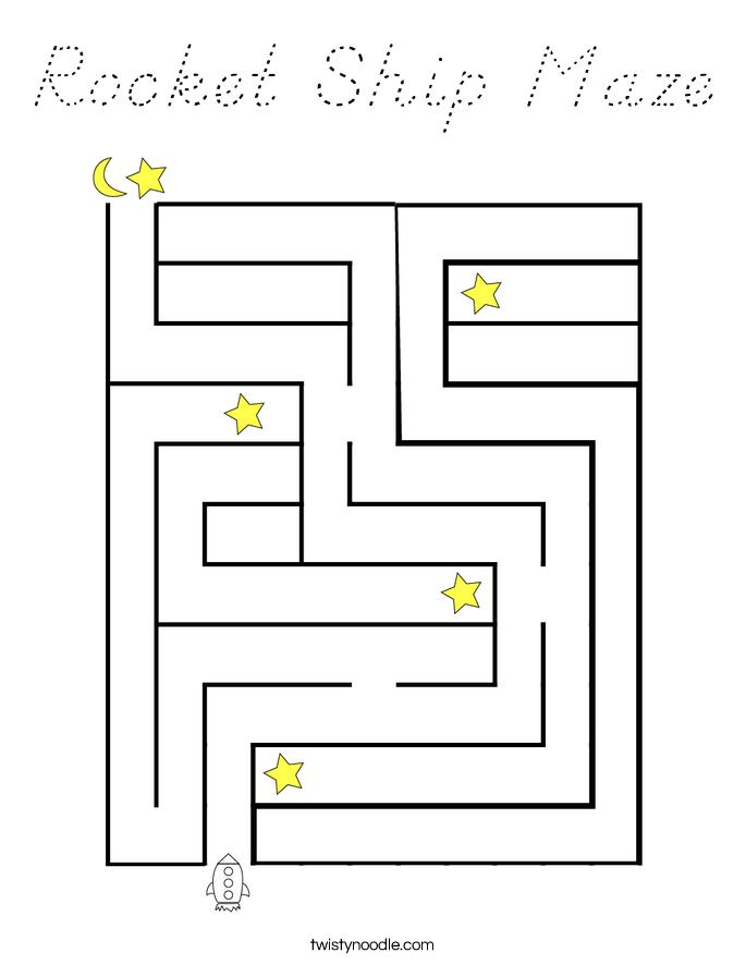 Rocket Ship Maze Coloring Page