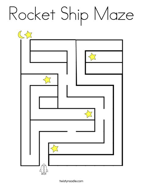 Rocket Ship Maze Coloring Page