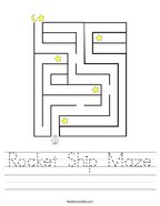 Rocket Ship Maze Handwriting Sheet