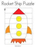 Rocket Ship Puzzle Coloring Page