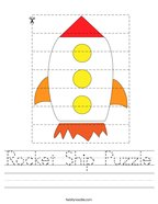 Rocket Ship Puzzle Handwriting Sheet