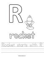 Rocket starts with R Handwriting Sheet