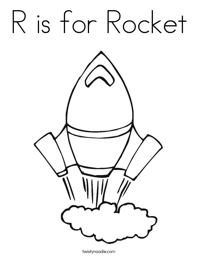 R is for Rocket Coloring Page
